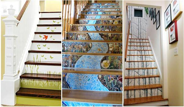 Décoration d'escalier en illusion d'optique